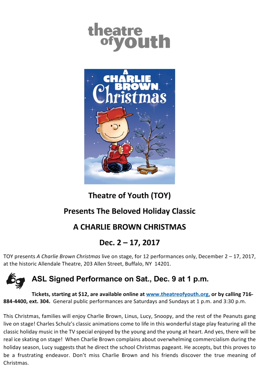 theatre of youth presents a charlie brown christmas asl interpreter - Asl Christmas